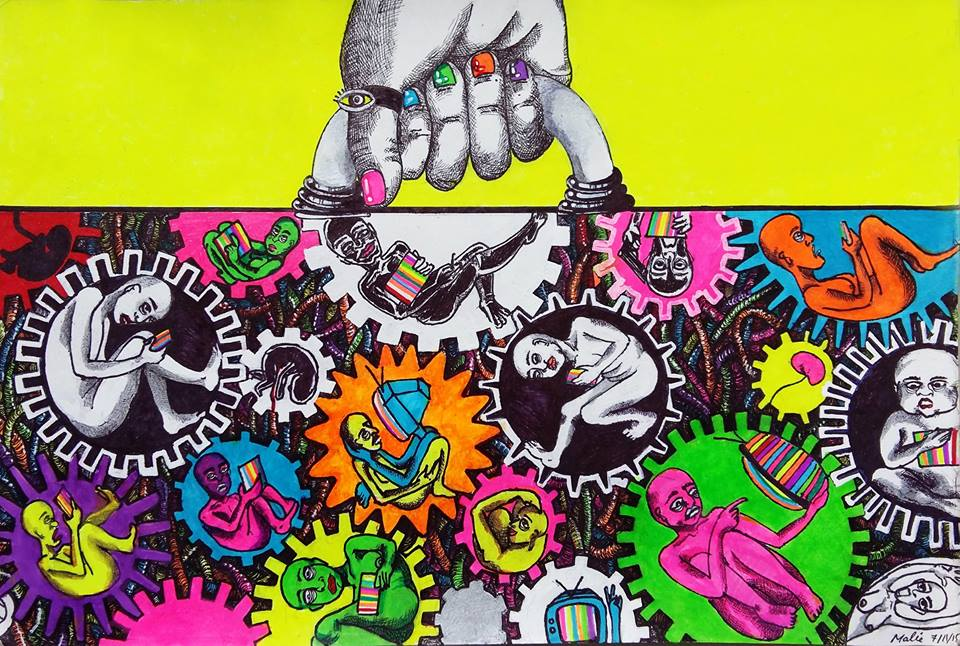 14. Under The Influence_All in all you're just another gear in the machine_Media_Feltip Pens and Highlighters on paper