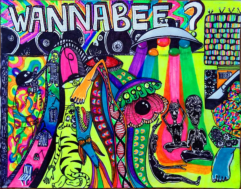 15. Under The Influence_The Curse Of The Neon Goddess_Wan a bee_or Wanna be_2015_Media_Feltip Pens and Highlighters on paper