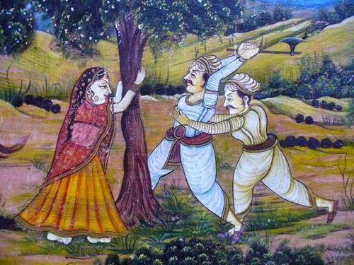 ১৭৩১। যোধপুরের মহারাজা অভয় সিং'রে  ঠেকাইতেছেন অমৃতা দেবী।